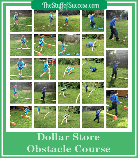 pool noodle obstacle course collage