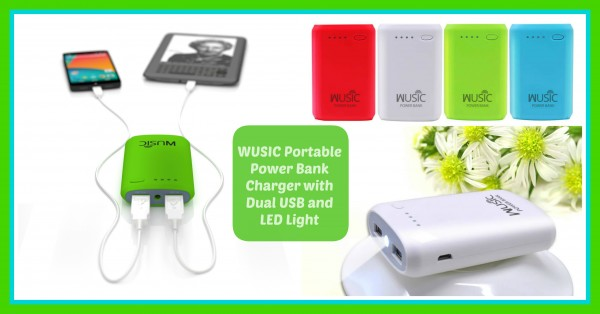 wusic portable power bank charger with dual usb and light