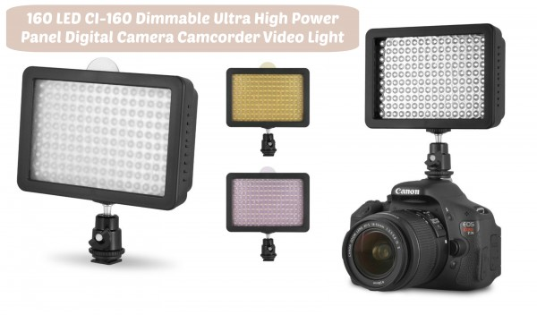 160 LED CI-160 Dimmable Ultra High Power Panel Digital Camera Camcorder Video Light