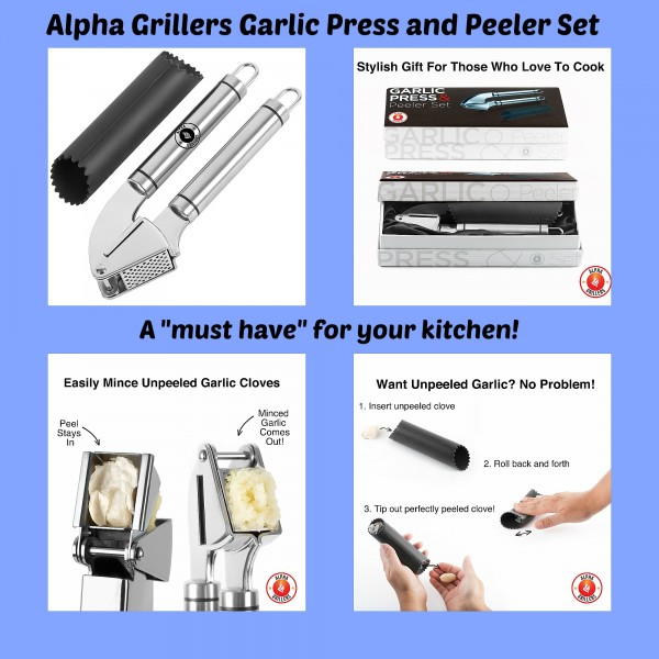 Alpha grillers garlic press and peeler set