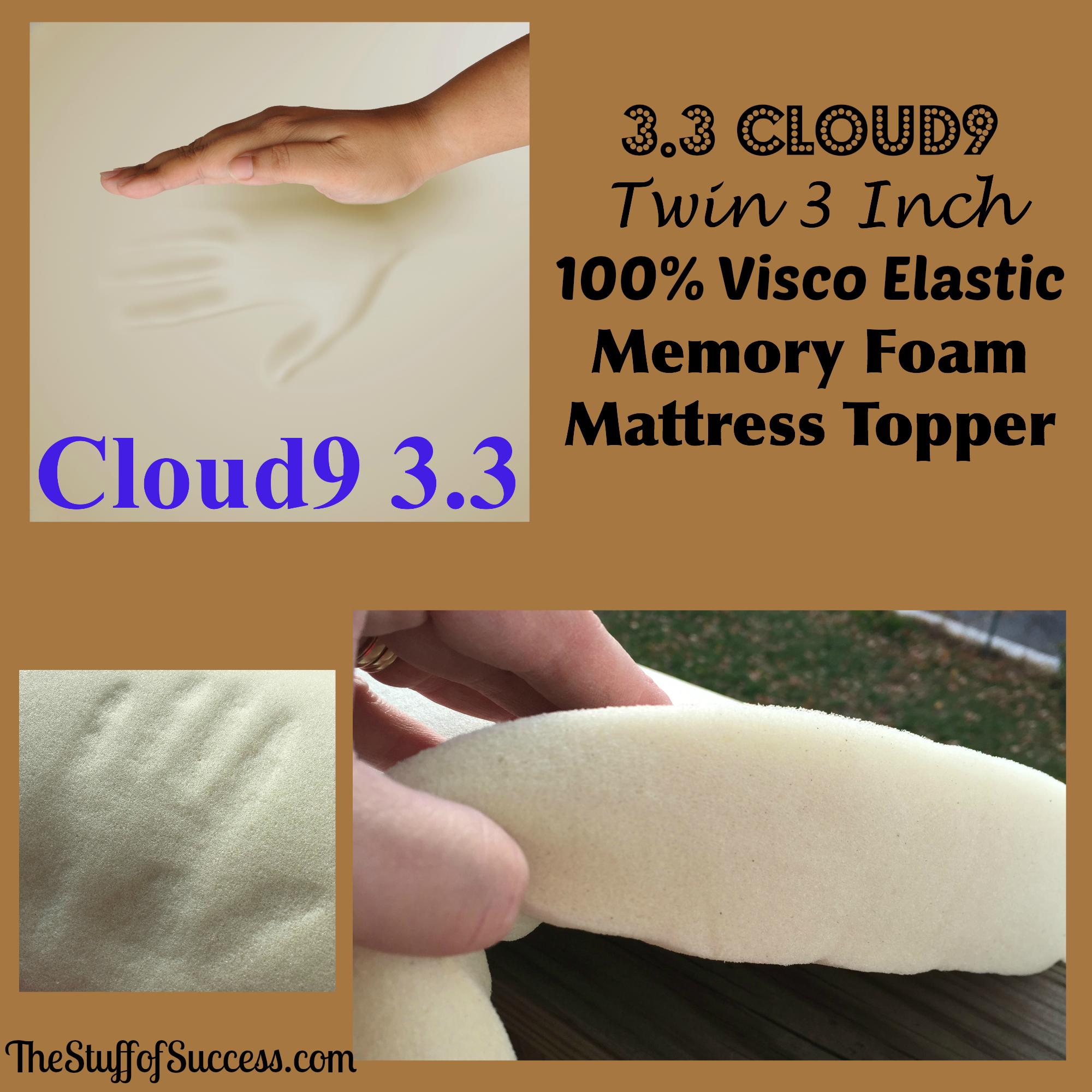 3 3 Cloud9 Twin 3 Inch 100 Visco Elastic Memory Foam Mattress Topper