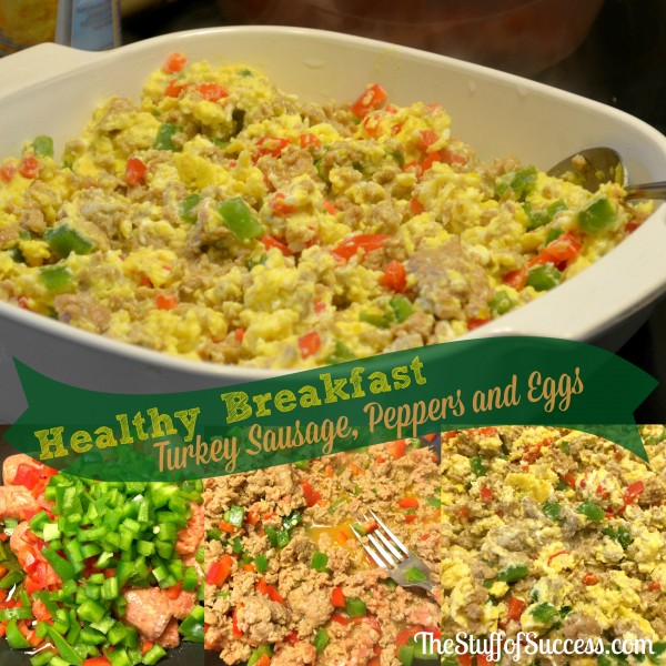 Healthy Breakfast With Turkey Sausage Pepper and Eggs