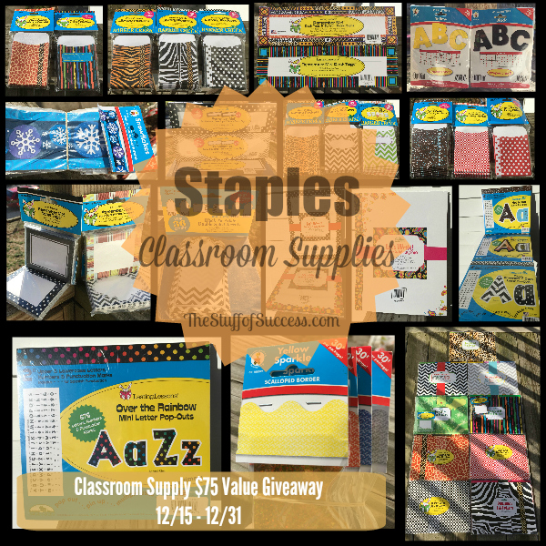 Enter the Staples Classroom Supply Giveaway. Ends 12/31/14.