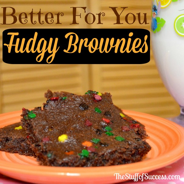 Better For You Fudgy Brownies and Milk
