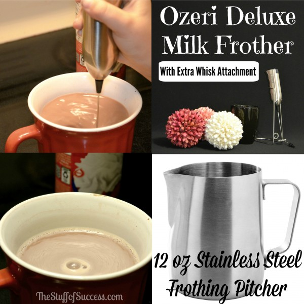 Ozeri Deluxe Milk Frother With Extra Whisk Attachment and Stainless Steel Frothing Pitcher