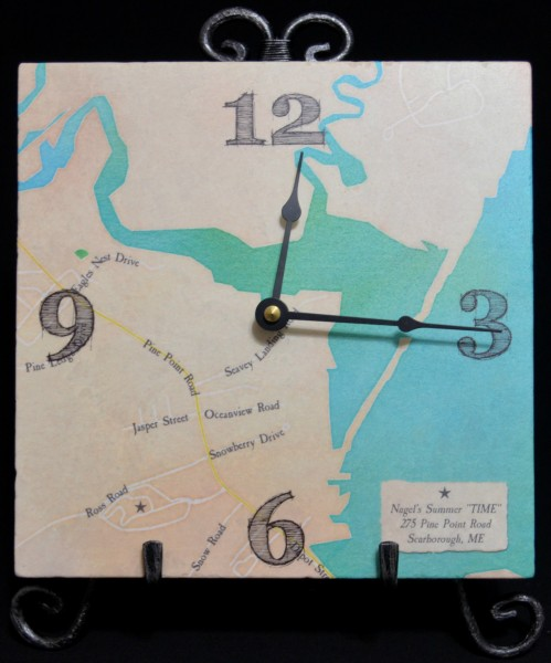 map is art marble clock