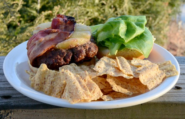 Pineapple Bacon Burger with Lettuce and Chips