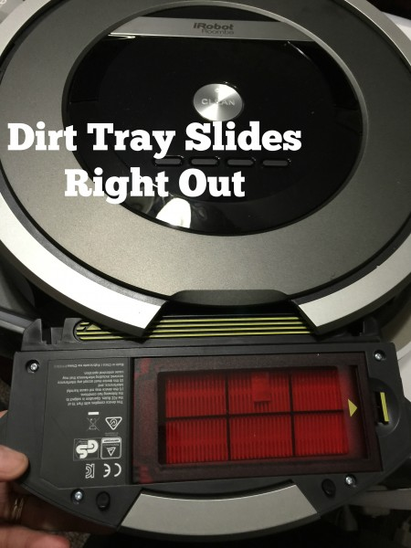 Slide out dirt tray