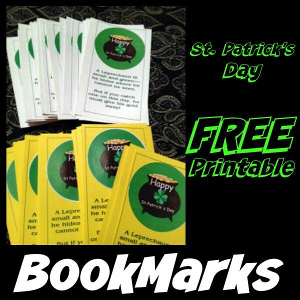 St patricks day printable bookmarks