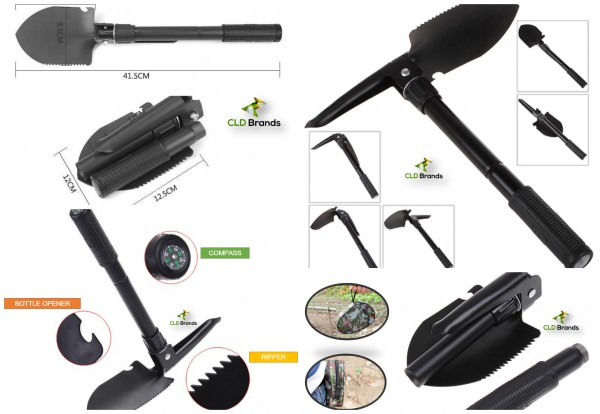 Camping Folding Shovel Pick With Compass