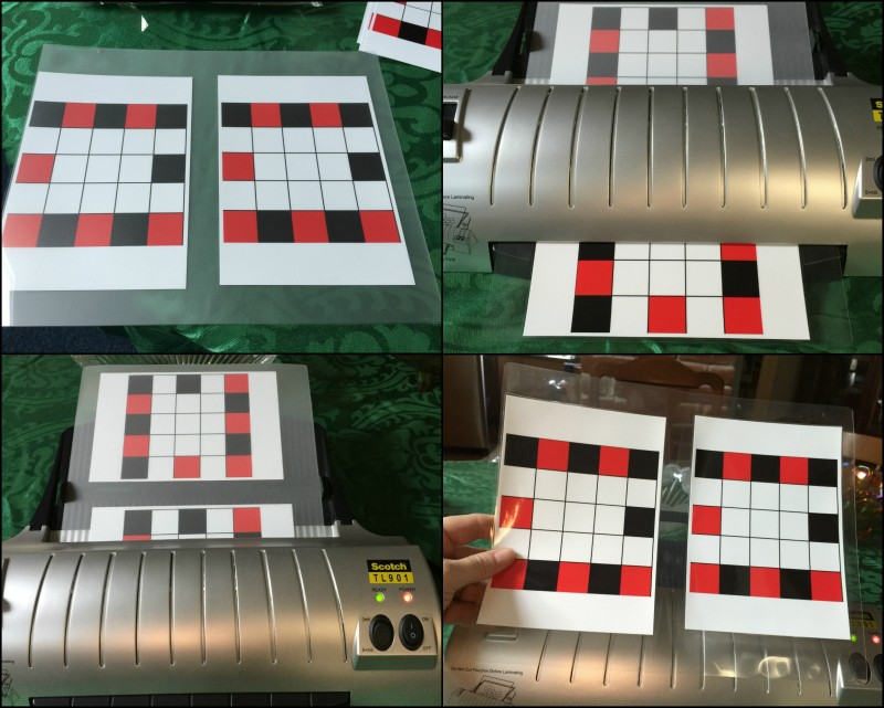 laminating my tic tac toe its four in a row boards