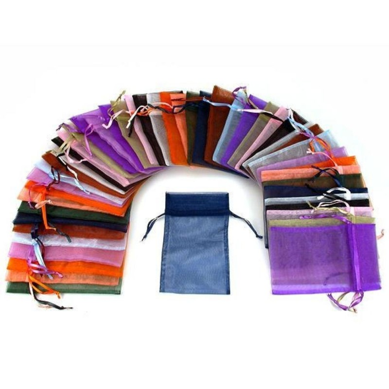 48 Organza Drawstring Pouches Gift Bags Assorted Colors 4x5