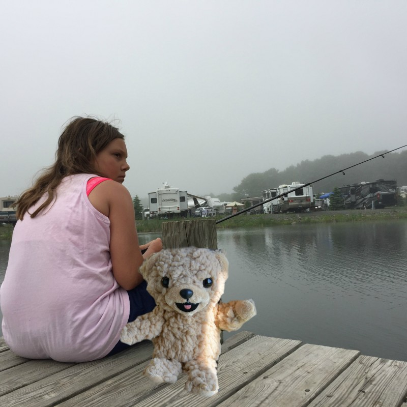 Snuggle Bear has gone fishing