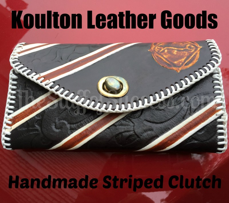 Koulton Leather Goods Handmade Striped Clutch