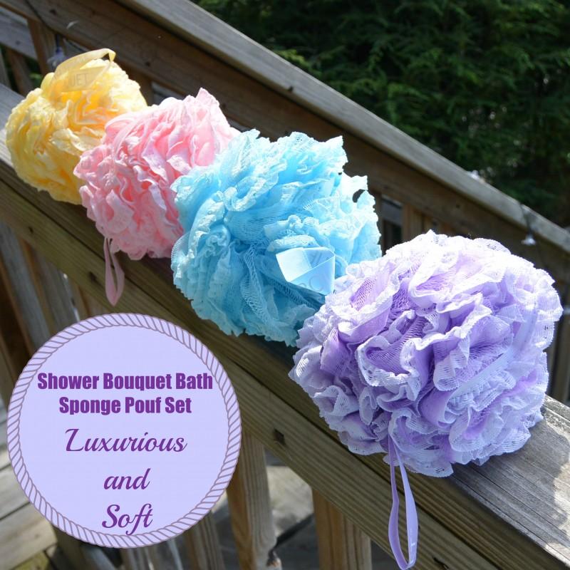 Shower Bouquet Bath Sponge Pouf Set - Luxurious and Soft