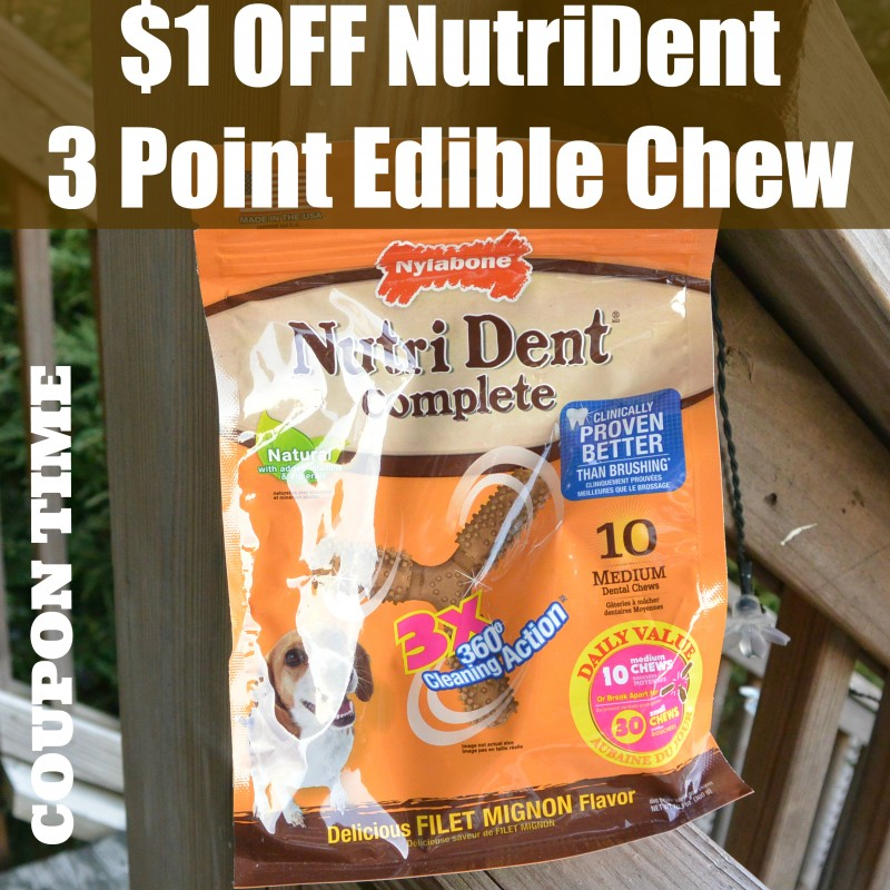 $1 OFF NutriDent 3 Point Edible Chew