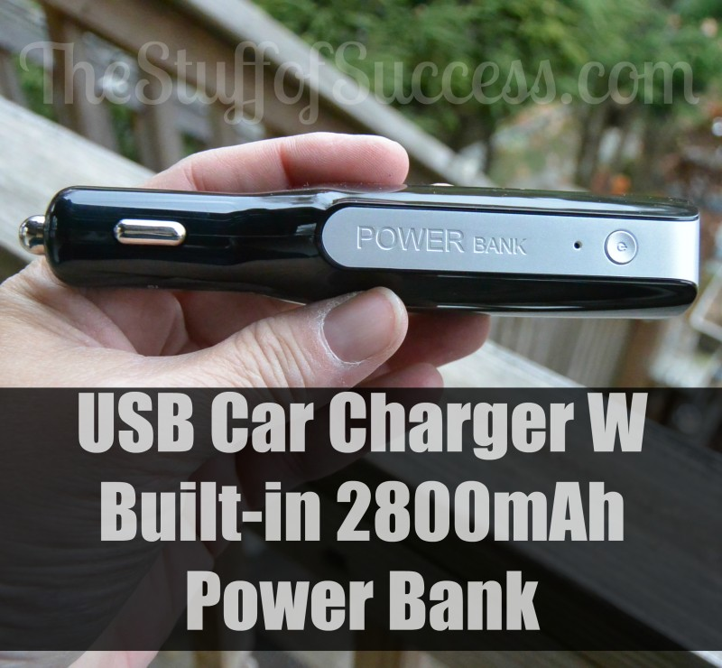 USB Car Charger W Built-in 2800mAh Power Bank