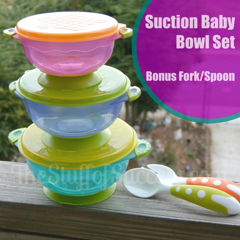 Suction Baby Bowl Set With Bonus Fork and Spoon