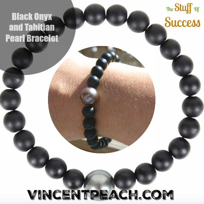 Black Onyx and Tahitian Pearl Bracelet by Vincent Peach