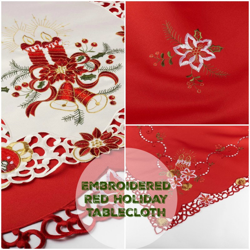 Embroidered Red Holiday Tablecloth