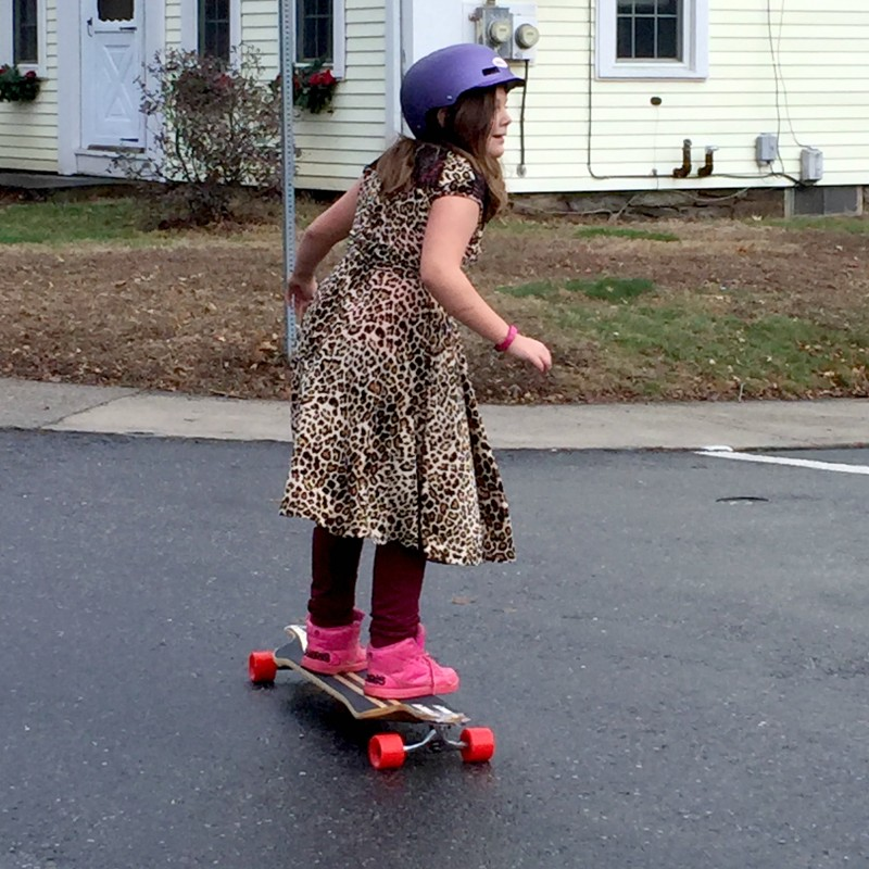 Sephora learning the longboard