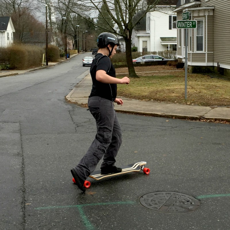 anthony learning the longboard