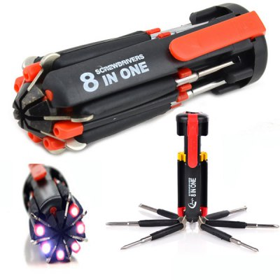 Multifunctional 8 in 1 Screwdrivers Toolkit with 6 LEDs Flashlight for Camping