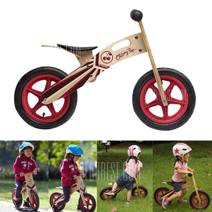 BTWIN 12 Inches Kids Cherry Pop Wooden Balance Bike