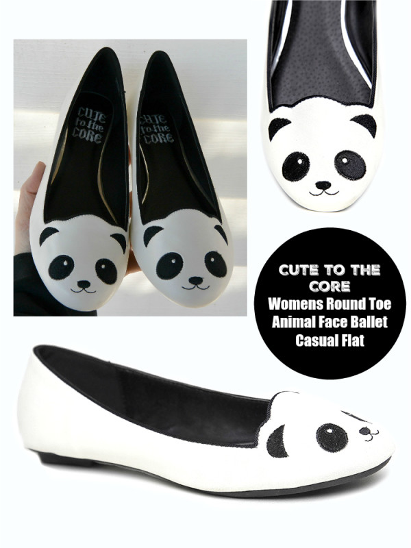 Cute to the Core Womens Round Toe Animal Face Ballet Casual Flat