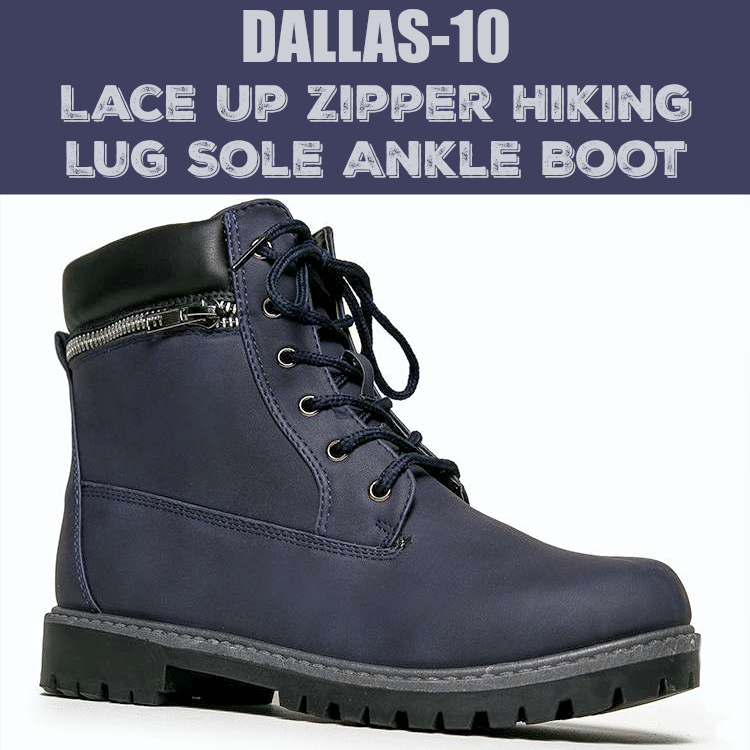 DALLAS-10 Lace Up Zipper Hiking Lug Sole Ankle Boot Bootie