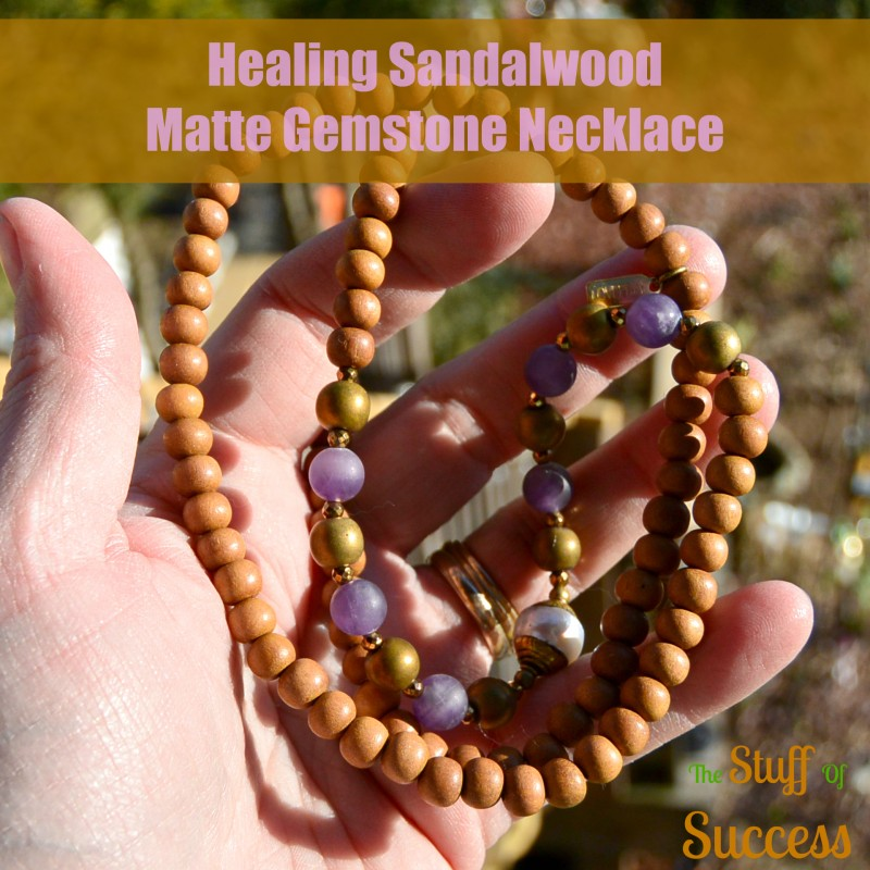 Healing Sandalwood and Matte Gemstone Necklace