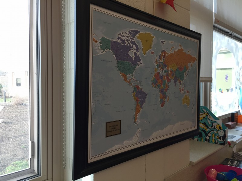 what better way to plan your trips and excursions than to plot them out with pins on a map this is a large framed map that is 395 inches wide and 275