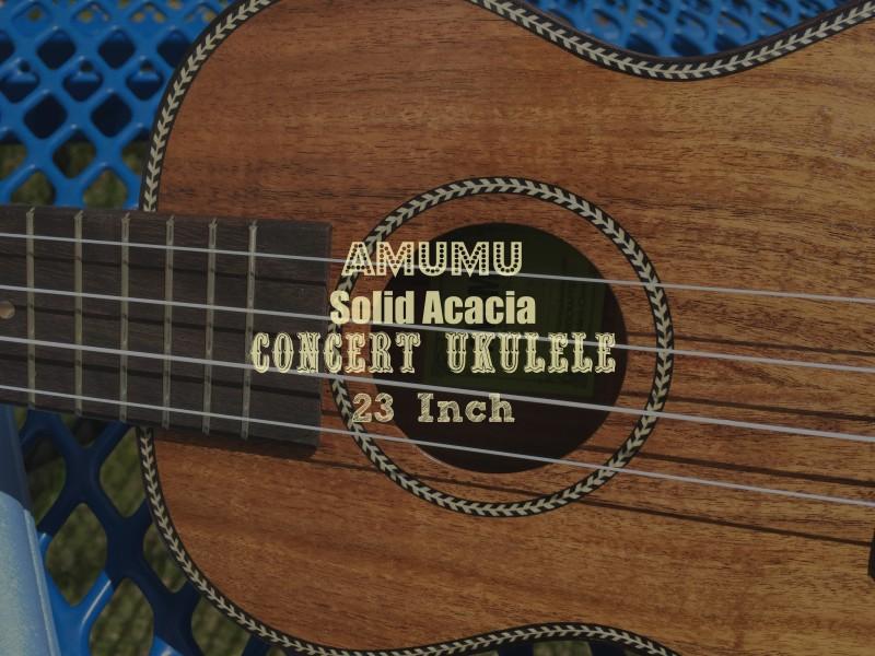 Amumu Solid Acacia Concert Ukulele 23 Inch