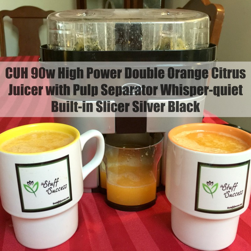 CUH 90w High Power Double Orange Citrus Juicer with Pulp Separator Whisper-quiet Built-in Slicer Silver Black
