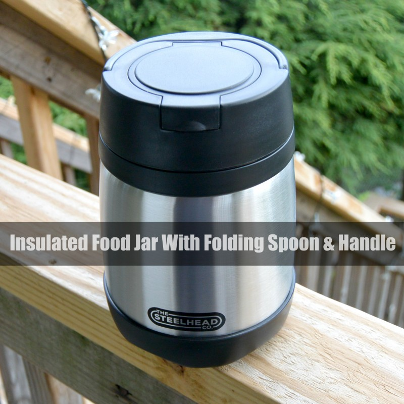 Insulated Food Jar With Folding Spoon & Handle