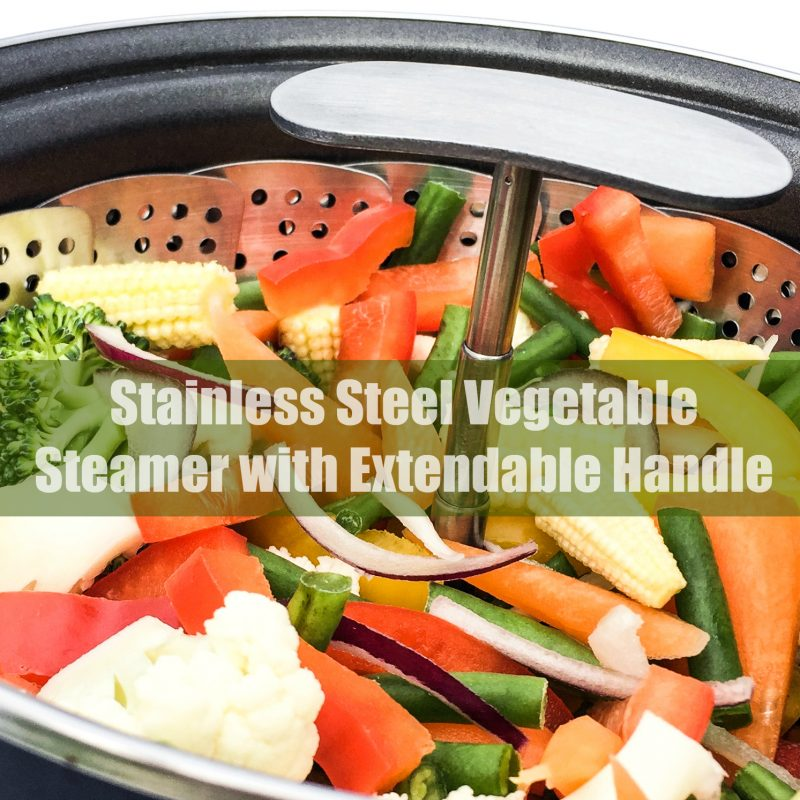Stainless Steel Vegetable Steamer with Extendable Handle